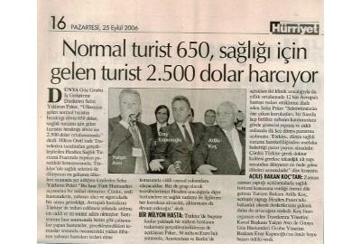 Normal turist 650, sağlığı için gelen turist 2.500 dolar harcıyor.